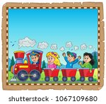 train with kids theme parchment ... | Shutterstock .eps vector #1067109680