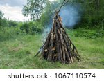 Small photo of Large bonfire from a dry cripple burns in the forest, against the background of trees.