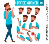 office worker vector. face...