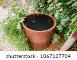 wooden barrel filled with water.... | Shutterstock . vector #1067127704