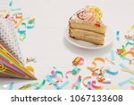 birthday cake and  decoration... | Shutterstock . vector #1067133608