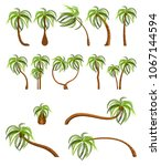 palm trees isolated on white... | Shutterstock .eps vector #1067144594