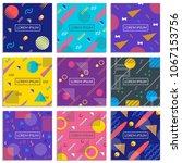 memphis style cover set. banner ... | Shutterstock .eps vector #1067153756