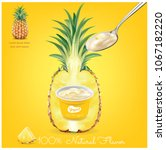 pineapple yogurt cup... | Shutterstock .eps vector #1067182220
