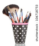 makeup brushes in a black polka ... | Shutterstock . vector #106718753