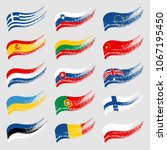 hand drawn flags of the world... | Shutterstock .eps vector #1067195450