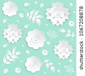 paper cut flowers   set of... | Shutterstock .eps vector #1067208878