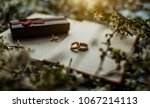 black box. two gold rings. ring ... | Shutterstock . vector #1067214113