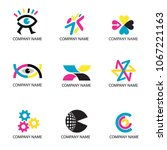 color print  cmyk colors icons. ... | Shutterstock .eps vector #1067221163