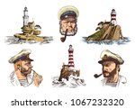 portrait of a sea captain.... | Shutterstock .eps vector #1067232320