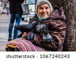 Poor Homeless Woman Begs Money...
