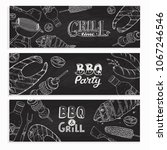 bbq and grill banners with...   Shutterstock .eps vector #1067246546