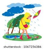 the girl walks in stormy... | Shutterstock .eps vector #1067256386