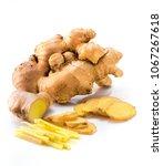 fresh ginger on white background   Shutterstock . vector #1067267618