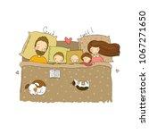 the family sleeps in bed.... | Shutterstock .eps vector #1067271650