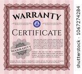 red formal warranty certifired... | Shutterstock .eps vector #1067274284