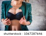 sexy female breast. attractive... | Shutterstock . vector #1067287646