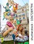 Small photo of Valencia/Spain - March 16, 2015: Street corners are packed with Ninots during Las Fallas Festival in Valencia. At the end of the week they are set alight.