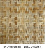 bamboo or straw weaving texture ... | Shutterstock . vector #1067296064