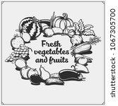 farmers market emblem. organic... | Shutterstock .eps vector #1067305700