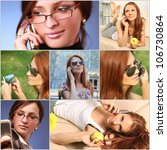 collage with girls calling on... | Shutterstock . vector #106730864