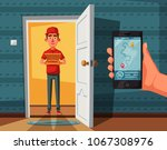 pizza delivery guy handing... | Shutterstock .eps vector #1067308976