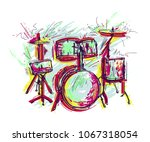 drum kit with splashes in... | Shutterstock .eps vector #1067318054
