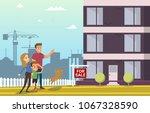 family buy real estate house.... | Shutterstock .eps vector #1067328590