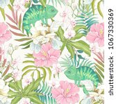 seamless pattern with flowers... | Shutterstock .eps vector #1067330369