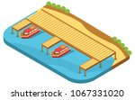 isometric concept of boat dock... | Shutterstock .eps vector #1067331020