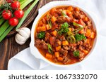 lamb sweet potato chili with... | Shutterstock . vector #1067332070