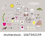 hand drawn color stickers set... | Shutterstock .eps vector #1067342159