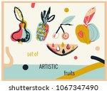set of artistic fruits...   Shutterstock .eps vector #1067347490