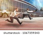 business men working at full... | Shutterstock . vector #1067359343