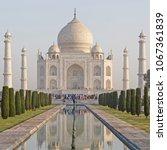 view on taj mahal from garden ... | Shutterstock . vector #1067361839