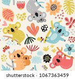 cute seamless pattern with koala | Shutterstock .eps vector #1067363459