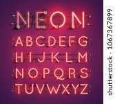 realistic neon font with wires... | Shutterstock .eps vector #1067367899