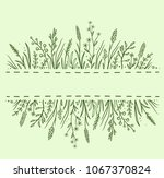 green hand drawn background... | Shutterstock . vector #1067370824