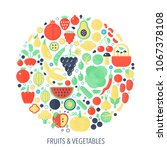 fruits vegetables flat... | Shutterstock .eps vector #1067378108