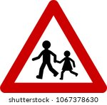 warning sign with kids play... | Shutterstock . vector #1067378630