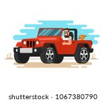 the man driving the off road... | Shutterstock .eps vector #1067380790