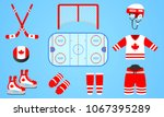 canadian ice hockey equipment... | Shutterstock .eps vector #1067395289