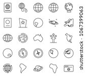 thin line icon set   around the ... | Shutterstock .eps vector #1067399063