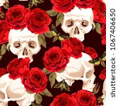 seamless skulls and roses | Shutterstock .eps vector #1067406650