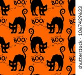 abstract seamless halloween cat ... | Shutterstock .eps vector #1067429633