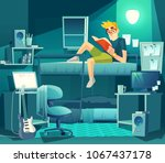vector dormitory room at night. ... | Shutterstock .eps vector #1067437178