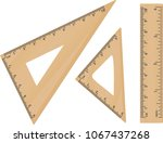 wooden school triangle and... | Shutterstock .eps vector #1067437268