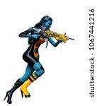 lady elf warrior 3d illustration   Shutterstock . vector #1067441216