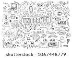 hand drawn internet doodles | Shutterstock .eps vector #1067448779