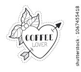 big heart decorated with coffe... | Shutterstock .eps vector #1067455418